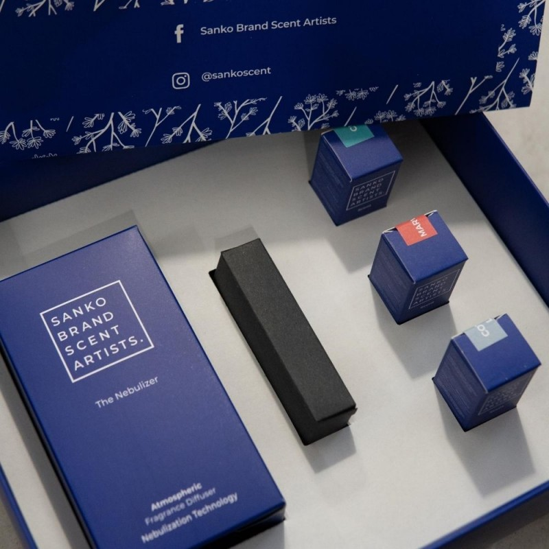 The Nebulizer Sanko Blu Wellness – Συσκευή διάχυσης αρωματικού χώρου με τρία αρώματα Scent ευεξίας: Marvelous, Chai, Cotton Lux (χρώμα μπλε)